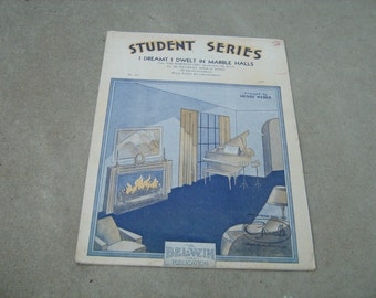 1930  vintage sheet music (  i dreamt i dwelt in marble halls  ) student series