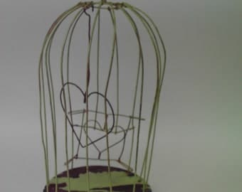 Chippy Wooden Wire Bird Cage painted Green Shabby Cottage Chic Heart Accents