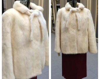 Stunning Mid-Century White Mink Jacket or Cape