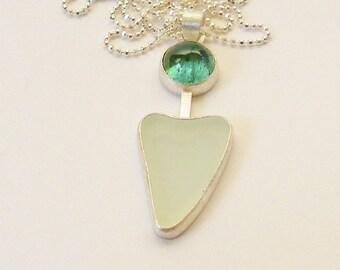 Aqua Sea Glass Heart, Tourmaline Necklace, Green Tourmaline, Aqua Beach Glass, Sea Glass Pendant, Valentine Heart, Ocean Beach SF Heart