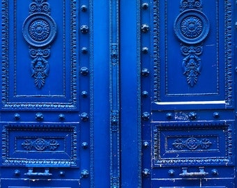 Monaco Blue Doors in Paris - Blue Doors on the streets of Paris - French Home Decor - Paris Photography - Door photography, paris wall art