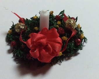 Holiday Sale 40% Off - Hand Made Red and Gold Christmas Centerpiece with White Candle - 2