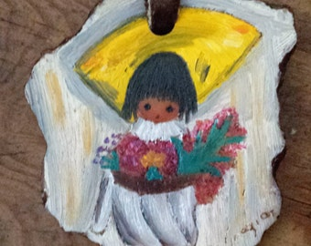 Vintage Ted Degrazia hand painted pendant necklace