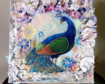sale Peacock Bird Original Painting Unique Collage SHABBY CHIC ART by Luiza Vizoli