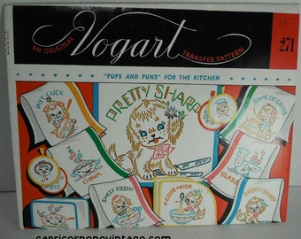 Vintage 1950s Vogart Transfer Pattern 271 Pups and Puns For The Kitchen Puppies Dogs Kitsch Kitchen Decor Embroidery Crafting