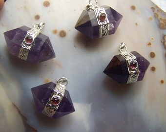 Amethyst Double terminated Crystal necklace pendant with Garnet Cabochon - stone point - silver bezel cord chain - coyoterainbow focal bead