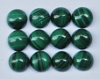 ONE Malachite cabochon circle round 8 mm small - stone cabs gemstone - green striped - multiples available coyoterainbow ring size BAG2448