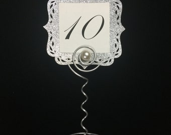 Table marker wire stand for menu cards and photos elegant swirls n pearls!