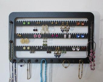 Earring holder, WIDE earring rack,with 15 pegs,  jewellery rack, jewelry storage,  display  WALL mount, earring organizer BLACK