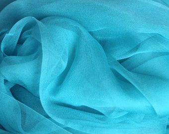 "NEW COLOR - Bright Aqua Silk Chiffon Gauze - Photo Prop - Infant Wrap - Hand Dyed Silk - Low Shipping - Accessory - 20"" x 84"""