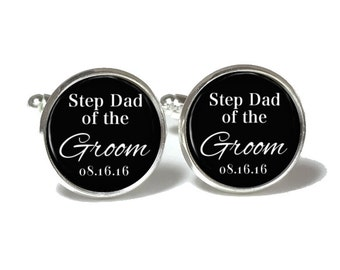 Step Dad of the Groom Cufflinks, Wedding Cuff Links, Cuff Link Gift Style 678