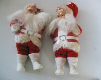 Pair of Vintage Santas From The 1950's, Japan, Fluffy Beards, Great For Your Christmas Display