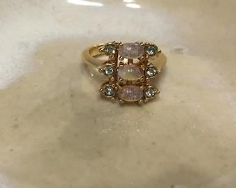 Vintage Signed Avon Ring Opaline Gold Tone Opal Glass Clear Rhinestone Opalescent Rhinestone Ring 1980