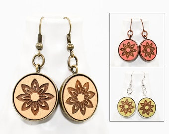 Modern Floral Geometric Earrings - Laser Engraved Wood with Mermaid and Anchor Design (Choose Your Color)