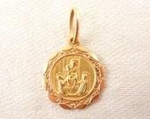 Vintage 18K Gold Italian Religious Icon Medallion Charm or Pendant