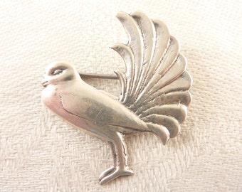Antique Mexican Sterling Fan Tail Bird Brooch