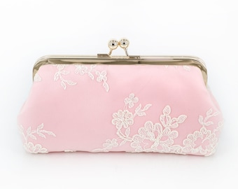 Pink Floral Alencon Lace Bridal Bridesmaids Clutch 8-inches