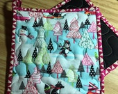 Christmas Insulbrite Potholder:   Snowman, Christmas Tree, Penguin, red, turquoise, Ready to Ship, Hostess Gift, Quilted