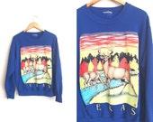 TEXAS SWEATSHIRT // Family of Deer - Royal Blue Pullover Sweater - Unisex Vintage '80s/'90s. Size Men's M or Women's L/XL.