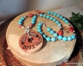 Trail of Tears Pendant Necklace, Cherokee Language Cedar Necklace, Native Style, Turquoise and Red, Handcrafted Jewelry, Tribal Jewelry