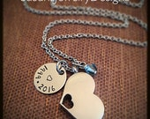 Cutout Heart Urn Necklace - stainless steel 1 sided disc & heart cremation urn and cable chain - Swarovski crystal -custom wording available
