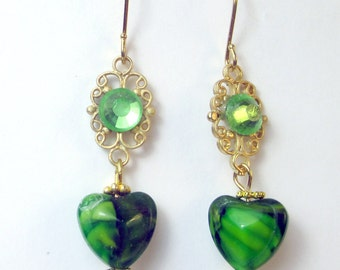 Green glass heart with gold filigree and peridot crystal earrings, green earrings, crystal earrings, heart earrings, holiday earrings