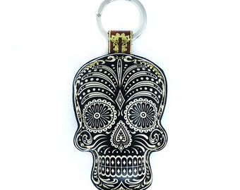 Leather Black Sugar Skull / Day of the Dead / Dia de Muertos Keychain / Keyring / Bag Charm