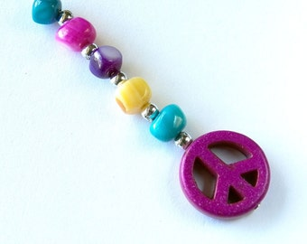 Peace Sign Rear View Mirror Charm/Key Ring/Purse, Backpack, Charm - Colorful Peace Sign Charm in Blues, Pinks, Purples and Yellows   C365