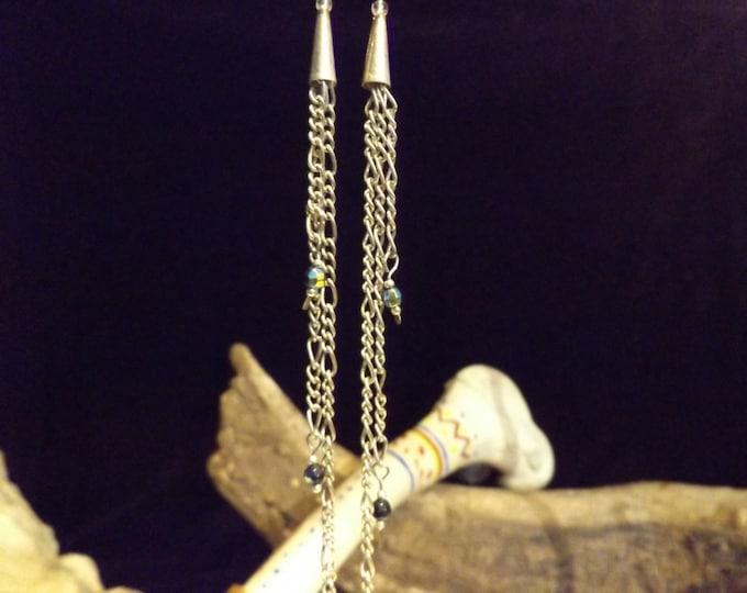 Dangling Blue Moon Glass Bead Earrings, Fire Polished Bead, Long Dangle Earrings