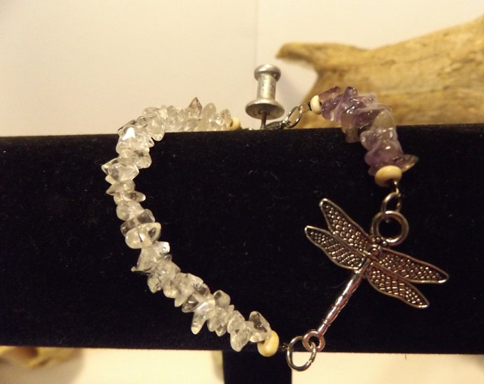 Amethyst and Clear Quarts Dragonfly Healing Bracelet, Healing Crystal and stone jewelry, Healing Jewelry, Spiritual Healing Jewelry.