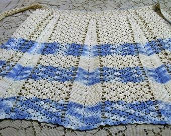 Vintage Apron, Blue and White, Crocheted Apron, Small Apron, Chevron Apron, Retro Kitchen, 1950s Vintage