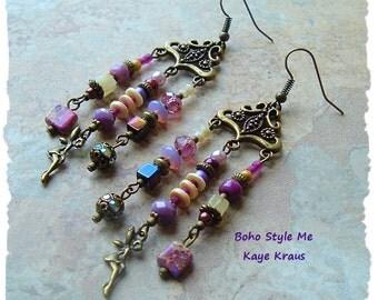 Fairy Chandelier Earrings, Bohemian Jewelry, Assemblage Earrings, Purple Fantasy Earrings, Boho Style Me, Kaye Kraus
