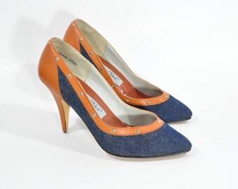 Denim and Leather Studio Six Shoes - Size 8 Denim Pumps