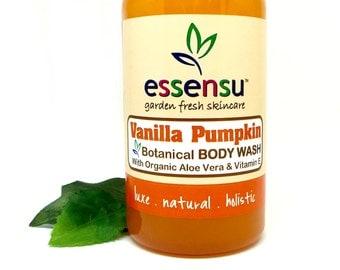 Vanilla Pumpkin Aloe Vera Natural Herbal Body Wash | Soothing Botanical Extracts | Ideal for Sensitive Skin | No Sulfates | Vegan - 8 oz
