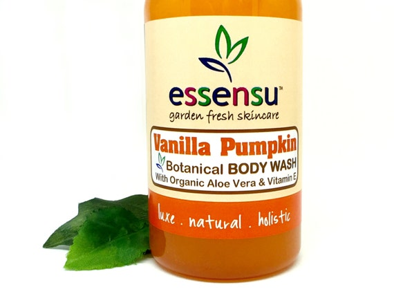 Vanilla Pumpkin Aloe Vera Natural Herbal Body Wash | Soothing Botanical Extracts | Ideal for Sensitive Skin | No Sulfates | Vegan - 8 oz