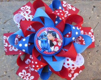 Lilo & Stitch Inspired Custom Boutique 3 Layer Loopy Flower Boutique Hair Bow for Disney Vacation Character Dining or Anytime