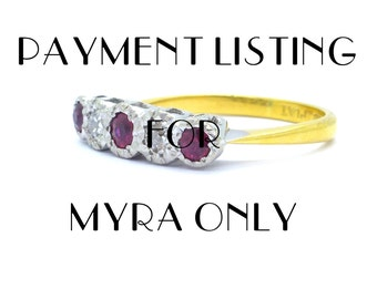 DEPOSIT PAYMENT LISTING for Myra-Art Deco engagement ring Antique 18ct Platinum Diamond Ruby 1920s-1930's 5 five stone in line English