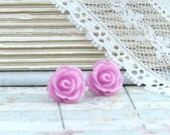 Purple Flower Earrings Rose Stud Earrings Orchid Purple Earrings Rose Studs Rose Earrings Surgical Steel