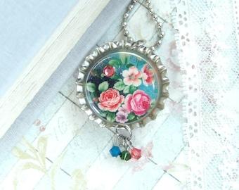 Coral Rose Necklace Floral Necklace Bottle Cap Necklace Victorian Necklace Flower Necklace Vintage Style