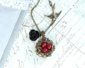 Pearl Nest Necklace Red Egg Necklace Nest Pendant Three Egg Nest Necklace Nest Jewelry Red Nest Necklace