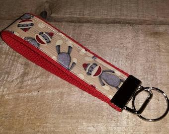 Set/5 Sock Monkey Key Fob Wristlets