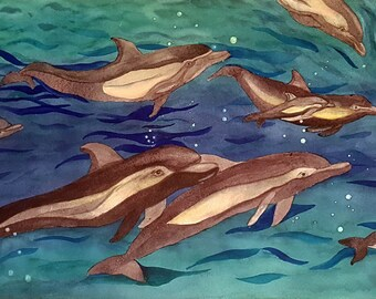 D-Pod As In Dolphin Pod And Baby Dolphin Original Watercolor Wall Art 14 x 22