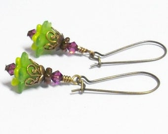 Green, Amethyst & Chartreuse Floral Earrings by Liz's Fineries - Swarovski Crystal, Czech Glass, Lucite, Brass - Ready to Ship