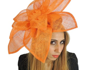 Carnation Orange Fascinator Hat for Weddings, Occasions and Parties on a Headband