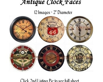 "DAE049A-22 Antique Clock Faces I - Digital Collage Sheet - 12 Images 2x2"" - Use as a Layer for A1, A2 or 4x4"" Cards"