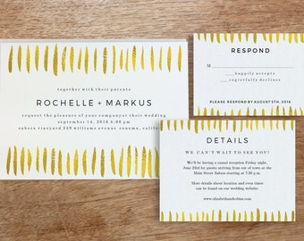 Printable Wedding Invitation Template | INSTANT DOWNLOAD | Gold Strokes | DIY | Editable Adobe pdf | Response and Info Card Set