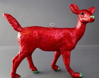 Glitter Menagerie Doe Ornament