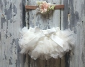 Natural floral Baby headband and TUTU Bloomer Set..Full chiffon Bloomers.Hair bow and Diaper Cover...