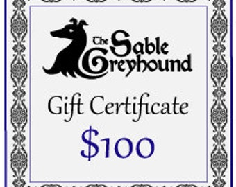 GIFT CERTIFICATE -- 100 dollars