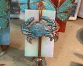 Handmade Glass crab nightlight, Cottage Chic, Stained Glass nightlight, Copper, Swarovski, Copper Night Light